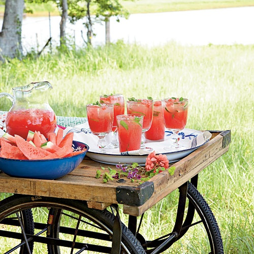 Cocktail Hour Recipes | Honeysuckle-Watermelon Cocktail | SouthernLiving.com