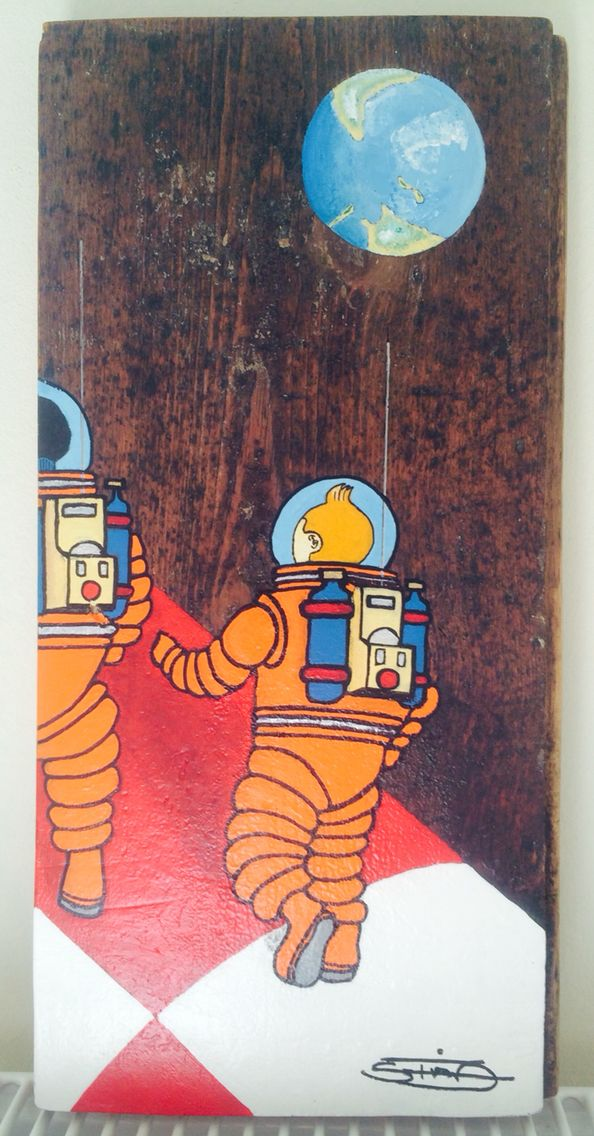 One More... Tin Tin  TinTin painted on old Wood. How i see Them in space. #tidmand. Steen Tidmand