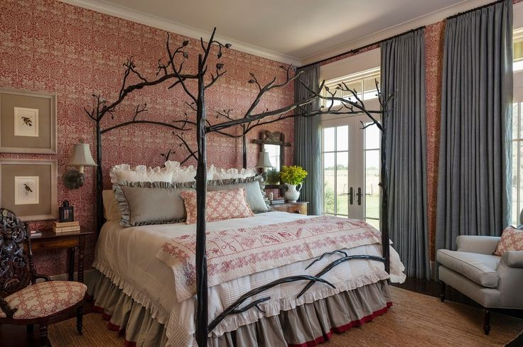 Contemporary Canopy Bed Kids with Retro Modern Wall Decals