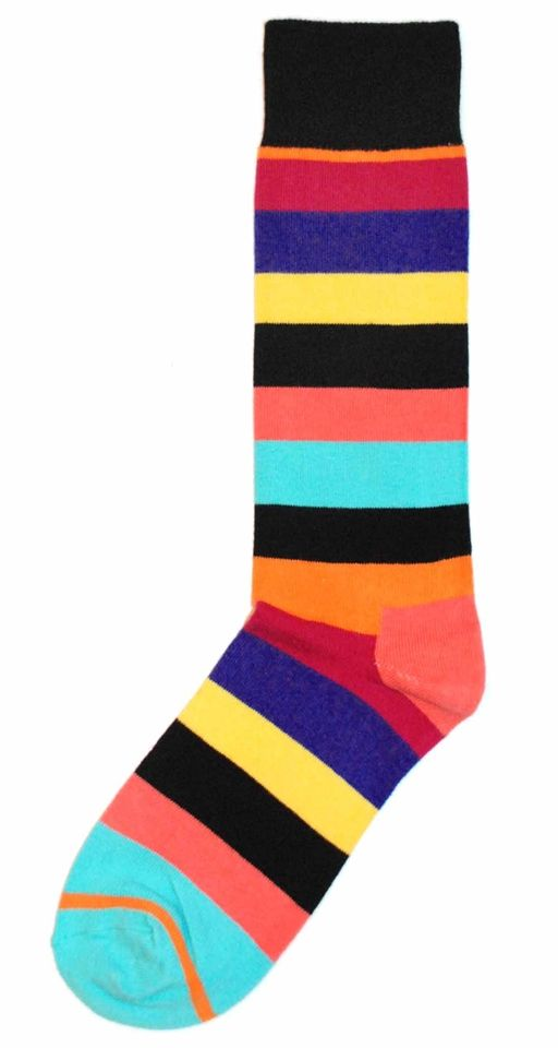 Black Multi-Color Stripe Mens Dress Sock - Happy Socks