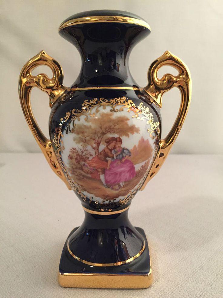 Limoges Veritable Porcelain Vase W Handles Gold Trim