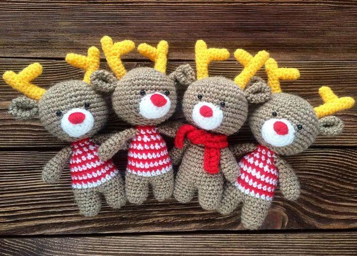 Рождественские олени амигуруми крючком