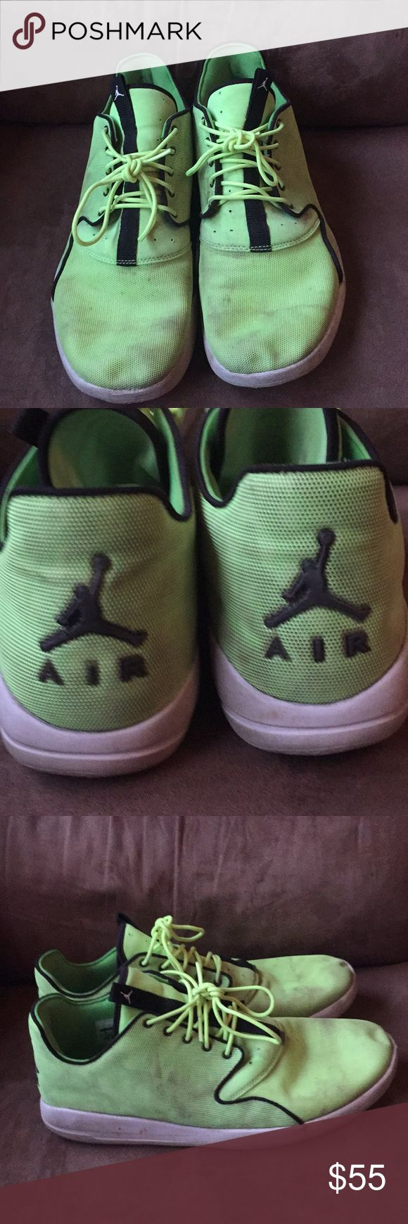 Men's Nike Jordan Tennis shoes Neon yellow/green.. definitely need a bath, but I hated to wash them myself for I'm good at ruining shoes when washing.. 😬 Nike Shoes Athletic Shoes