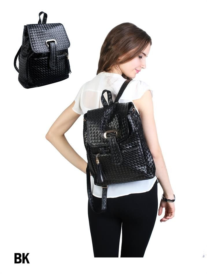 Trendy Weave Pattern Buckle Front Back Pack Faux Leather Black