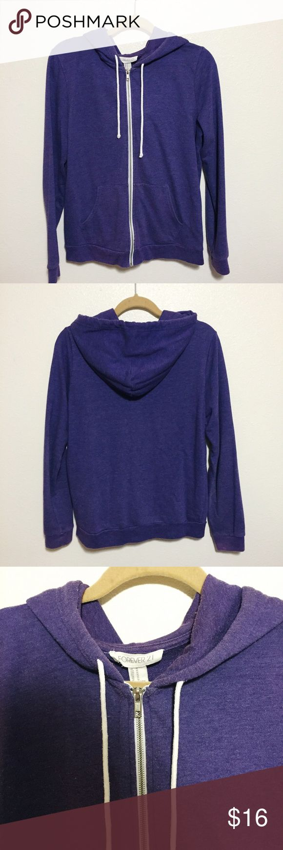 Forever 21 purple zip-up hoodie Purple zip-up hoodie. Forever 21 Tops Sweatshirts & Hoodies