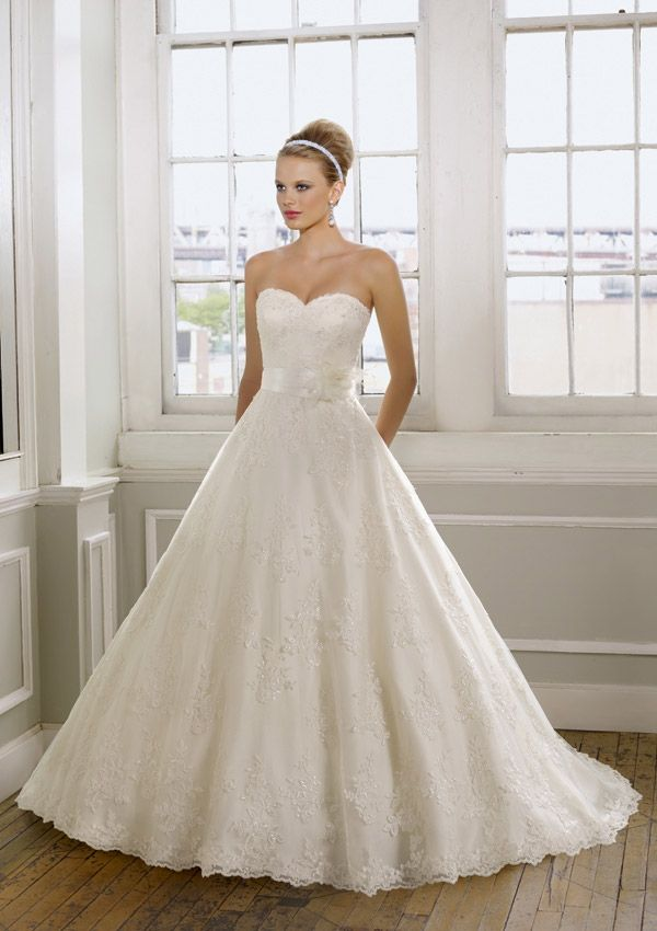 Bridal gown from Mori Lee by Madeline Gardner Style 1612  (removable satin tie sash with flower)