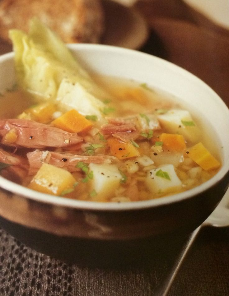 Bacon Broth Soup | 1 2lb bacon hock, 1/3 cup barley, 1/3 cup lentils, 2 leeks or onions diced, 4 carrots diced, 7oz rutabaga diced, 3 potatoes diced, small bunch of herbs (thyme, parsley, bay leaf), 1 small cabbage sliced, salty and pepper, fresh parsley chopped to garnish and brown bread.