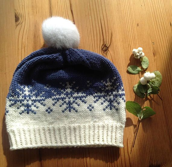 Hand Knitted Hat with Snow Flake Pattern in soft Merino Wool