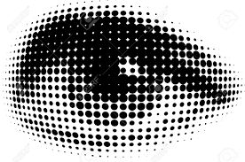 Picture of an eye in black ink  with halftone dots visible. Eyes are the windows to the soul! And this one shows how single colour halftone works