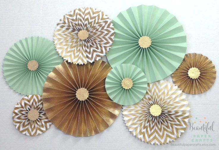 Mint Green Loves Gold Glitter || Gold Rosette Centerpieces || Mint and Gold Bridal Shower || Paper Fans || Pinwheels || Candy Buffet Decor by BeautifulPaperCrafts on Etsy https://www.etsy.com/listing/209068791/mint-green-loves-gold-glitter-gold