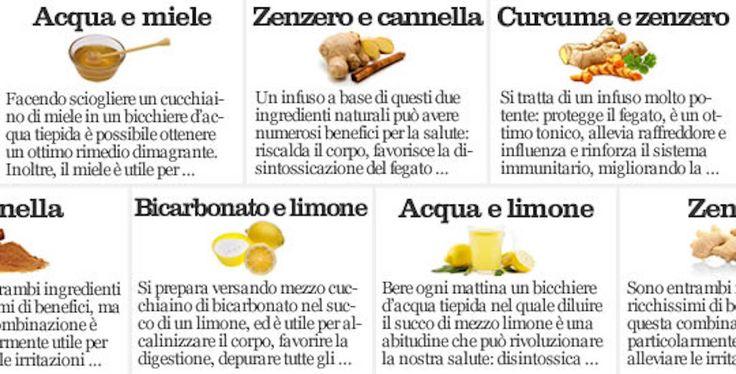 Alcuni ingredienti naturali che usiamo ogni giorno in cucina, oltre ad essere nutrienti, hanno proprietà terapeutiche molto potenti. Di seguito ti suggeriamo alcune combinazioni tra ingredienti naturali che possono avere grandiosi benefici per la nostra salute.  Acqua e miele. Facendo sciogliere un cucchiaino di miele in un bicchiere d'acqua tiepida è possibile ottenere un ottimo rimedio dimagrante. Inoltre, il miele è utile per abbassare il colesterolo e, grazie alle sue proprietà…