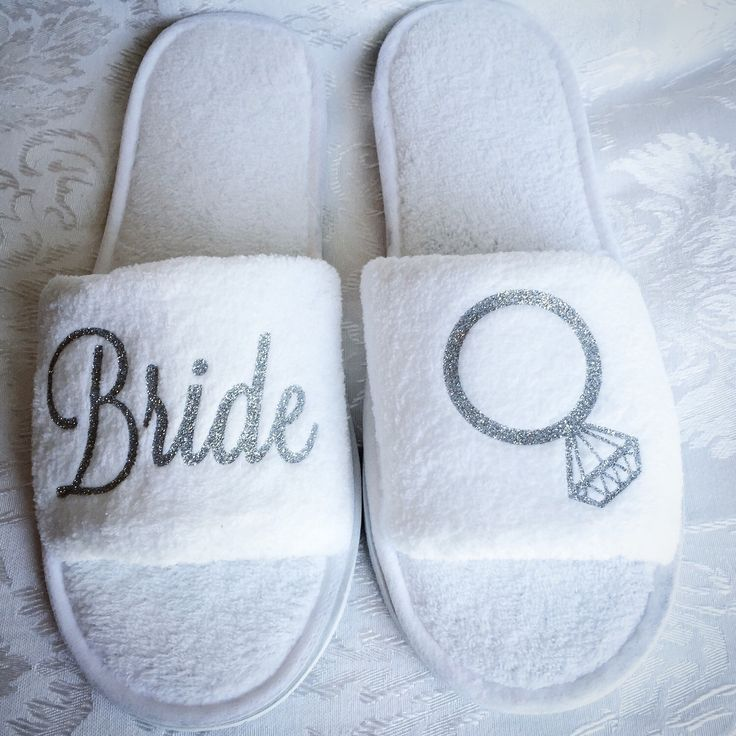Bride Spa Slipper decorated with Silver glitter; Bride and Diamond Ring; Open toe; White Terry shoe by CrossAndCrown on Etsy https://www.etsy.com/listing/231957480/bride-spa-slipper-decorated-with-silver