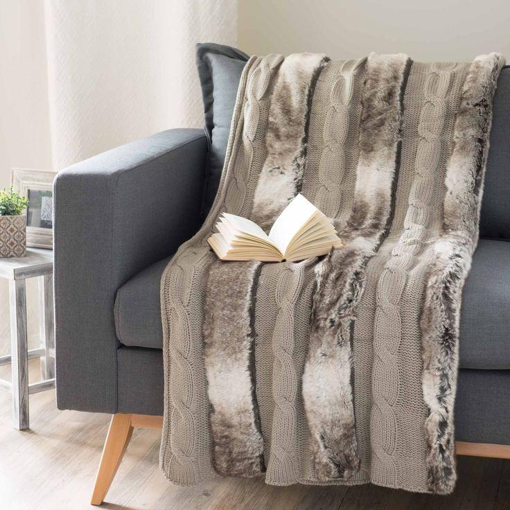 Plaid color talpa in tessuto lavorato a maglia e simil pelliccia 125 x 150 cm STOCKHOLM