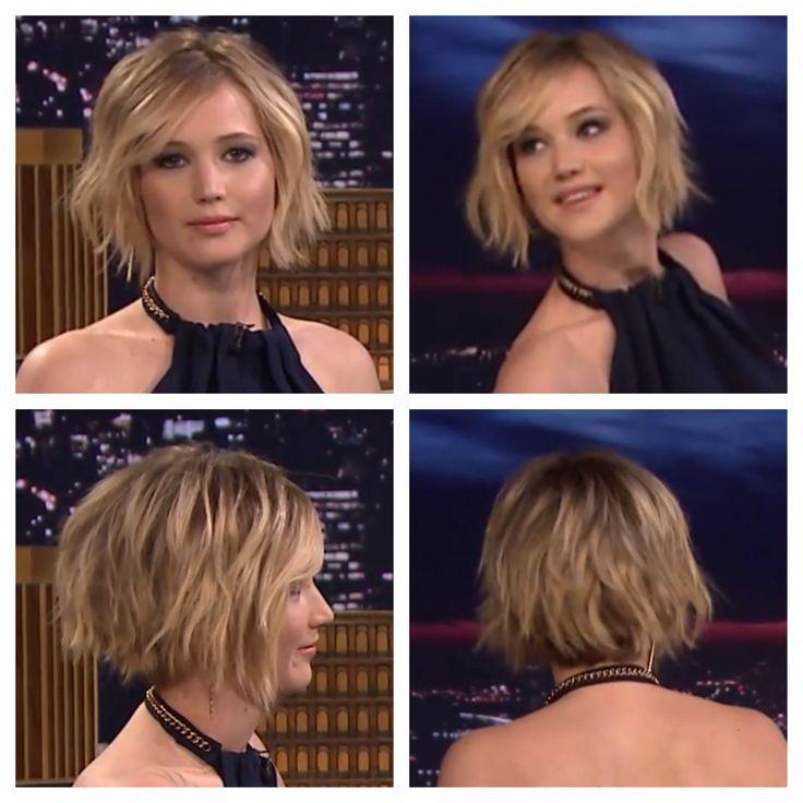Jennifer Lawrence on Jimmy Fallon - short choppy bob haircut - blonde w/light brown low lights