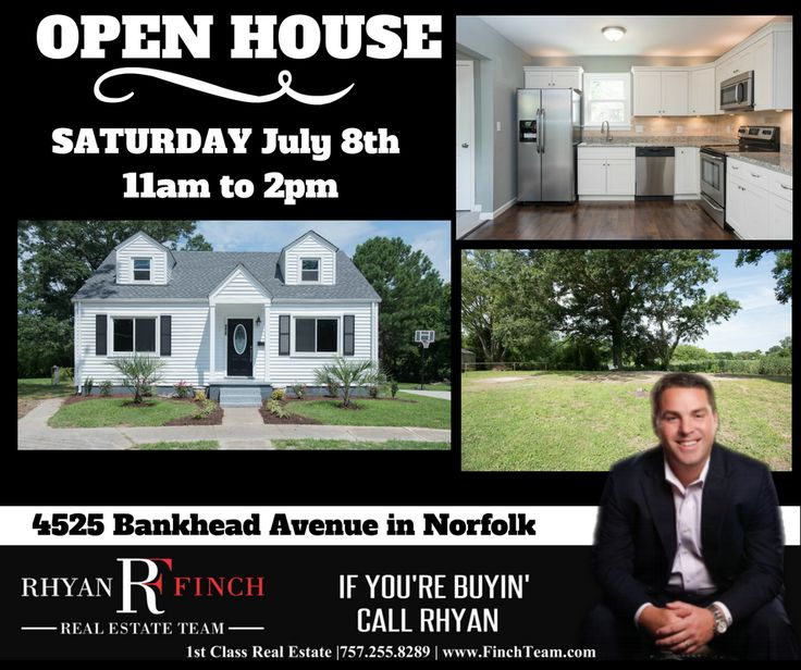 OPEN HOUSE - Saturday, July 8th from 11am to 2pm - 4525 Bankhead Avenue in Norfolk *WATERFRONT*  LIKE NEW CONSTRUCTION! NEW Roof, NEW Windows, NEW Electrical, NEW Plumbing, NEW Fixtures Throughout!   Upgraded Water Resistant Pergo Flooring, Custom Tile in Baths, Granite in Kitchen with Custom Hardwood Cabinets and Stainless Steel Appliances.   Only WATERFRONT Lot with View in Neighborhood! Come View Your Private WATERFRONT Oasis Today!  ➡➡CALL NOW⬅⬅ The Rhyan Finch Real Estate Team at 1st…