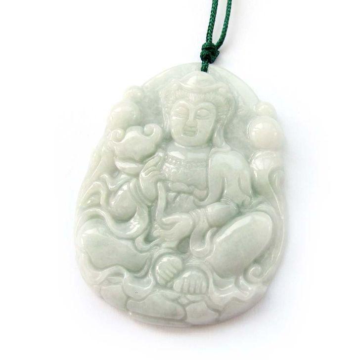 Jadeite Jade Buddhist Mercy Kwan-yin Amulet Pendant: