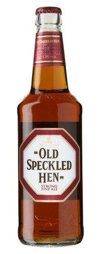 Cerveja Old Speckled Hen, estilo Extra Special Bitter/English Pale Ale, produzida por Greene King, Inglaterra. 5.2% ABV de álcool.