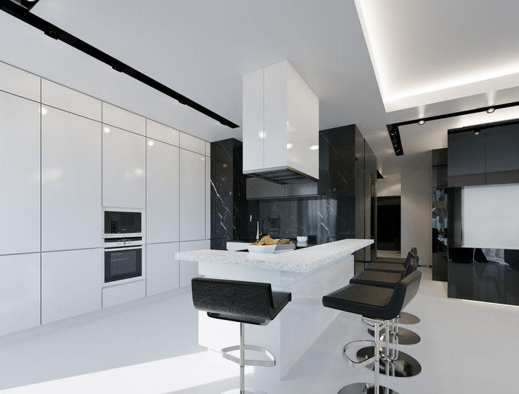 Futuristic black and white apartment see more geometrixdesign interiors