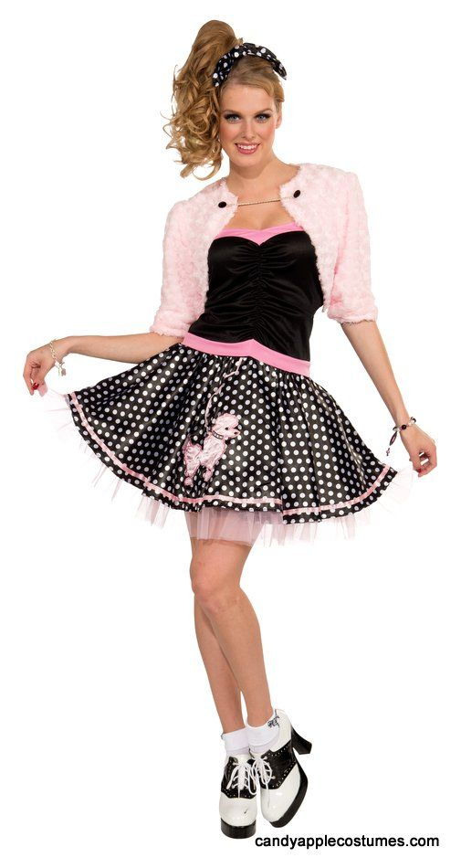 Adult 50s Deluxe Poodle Skirt And Shrug Costume