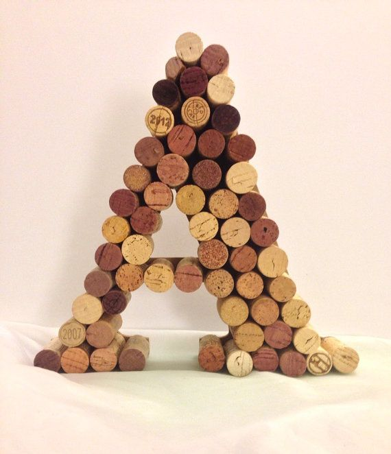 Wine cork monogram A letter by Corksnkrafts on Etsy