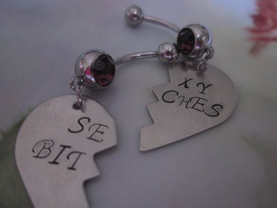 Sexy btches heart belly button rings. SET OF 2. by ForeverStamped, $40.00
