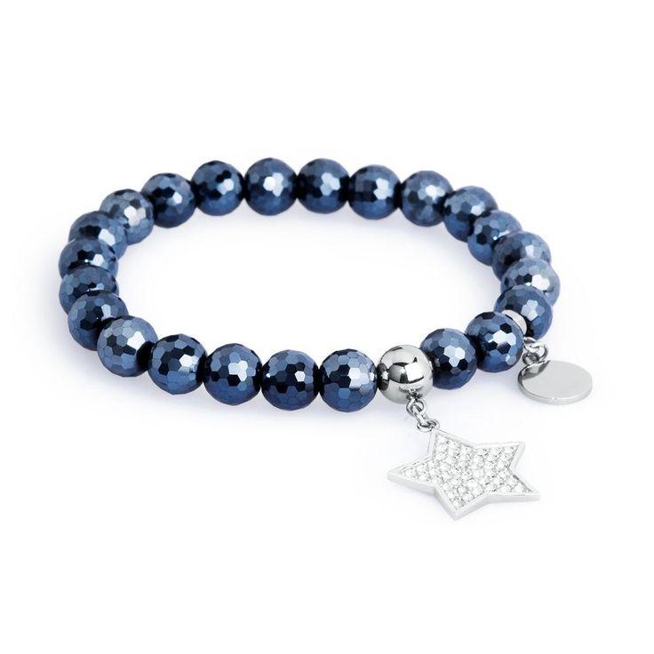 S Agapo Friends Bracciale elastico con pietre blu e stella SFR13 Bracciali