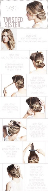 A breakdown of directions I can actually read.Hair Ideas, Wedding Hair, Hair Tutorials, Long Hair, Messy Buns, Twists Sisters, Hair Style, Lauren Conrad, Updo