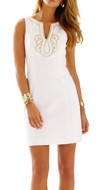Lilly Pulitzer Janice Shift Dress in Resort White- beautiful beading