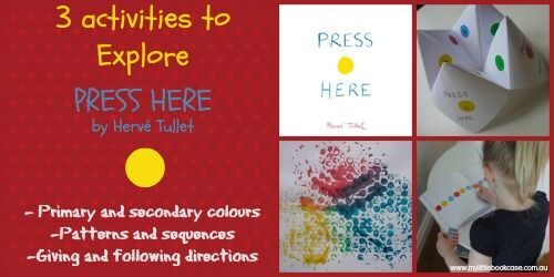 """A set of Terrific ideas for the book """"Press Here"""" from my little bookcase. I…"""