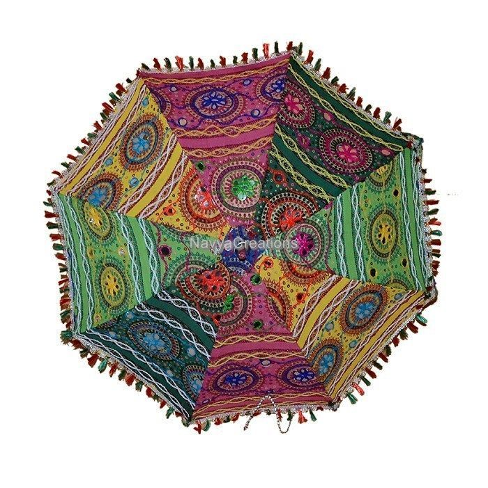 INDIAN UMBRELLA COTTON EMBROIDERY WORK Ethnic Traditional PARASOL Christmas GIft #Handmade #Parasol