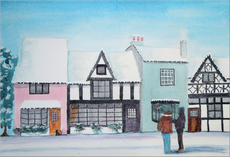 """ARTFINDER: Winter's Day by Frances Coleman - A watercolour and mixed media painting, in mainly pastel colours, of a winter's scene in a small town to fit a 20 x 16"""" frame. Available as a mounted paintin..."""