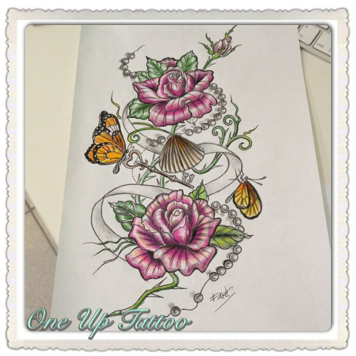 Tattoo sketch -roses -butterfly