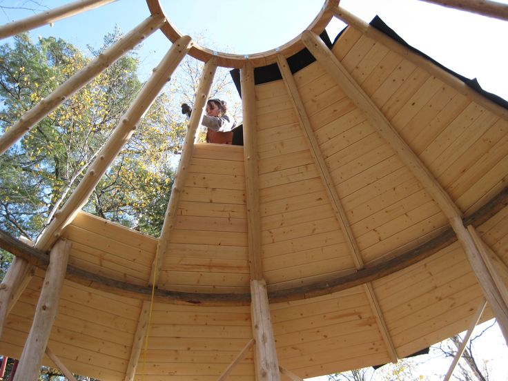 Decking the conical roof. | The  Yurt  by Construction Junction LLC | Pinterest & Decking the conical roof. | The