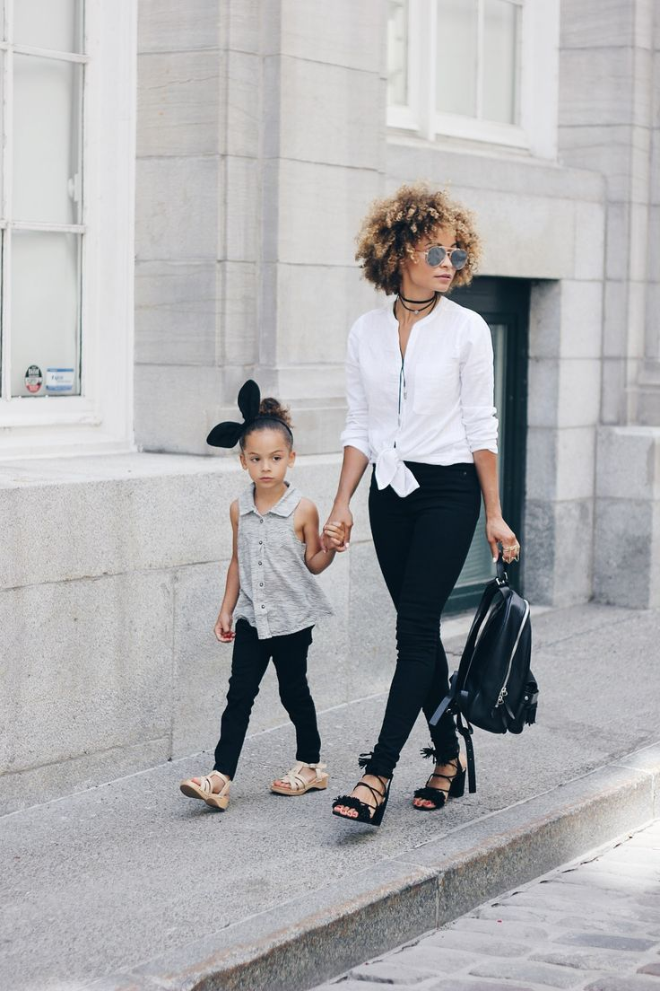 Chic Mom and Mini in Monochromatic with Old Navy