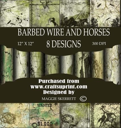 Barbed Wire and Horses Themed Background Paper Set on Craftsuprint - Add To Basket!