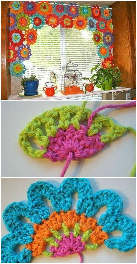 Free Crochet Pattern Flower Curtain : 1000+ images about crochet on Pinterest Afghans, Crochet ...