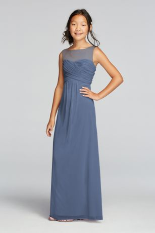 A nice choice for your junior bridesmaids: This long mesh sleeveless bridesmaid dress with an illusion neckline is the right mix of cute and grown-up.   High neck illusion tank bodice features beautiful ruched detail.  Flowy floor length mesh skirt provides ultimate comfort.  Fully lined. Imported. Back zipper. Dry clean only.  Complements perfectly with Bridesmaid Style F15927.