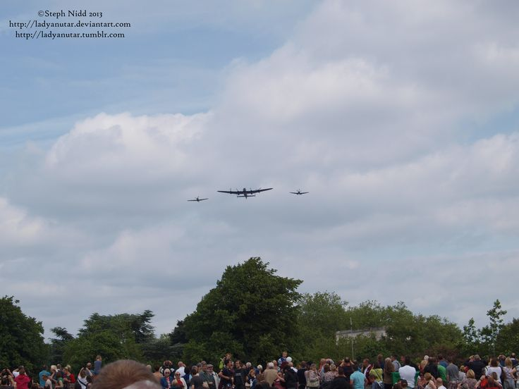 Battle of Britain Memorial Flight flying over crowds
