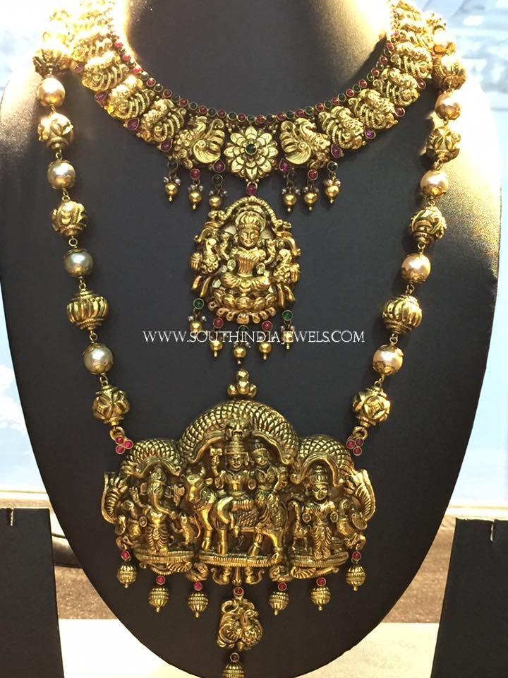 Gold Nakshi Bridal Jewellery Sets, Gold Nakshi Work Bridal Jewellery Collections.