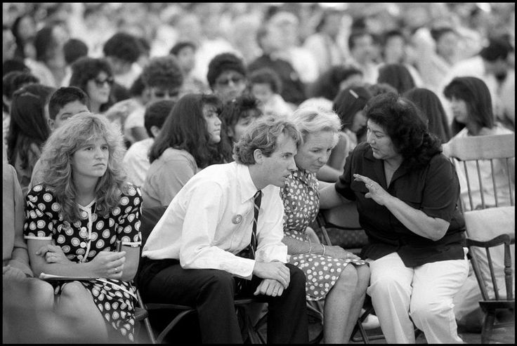 1988: Ethel Kennedy speaks with Helen Chavez, wife of Cesar, at a service during which Chavez ended his 36-day hunger strike. Ethel Kennedy gave him the bread with which to break the fast, as her husband had in 1968. Robert Kennedy Jr. sits at the center.
