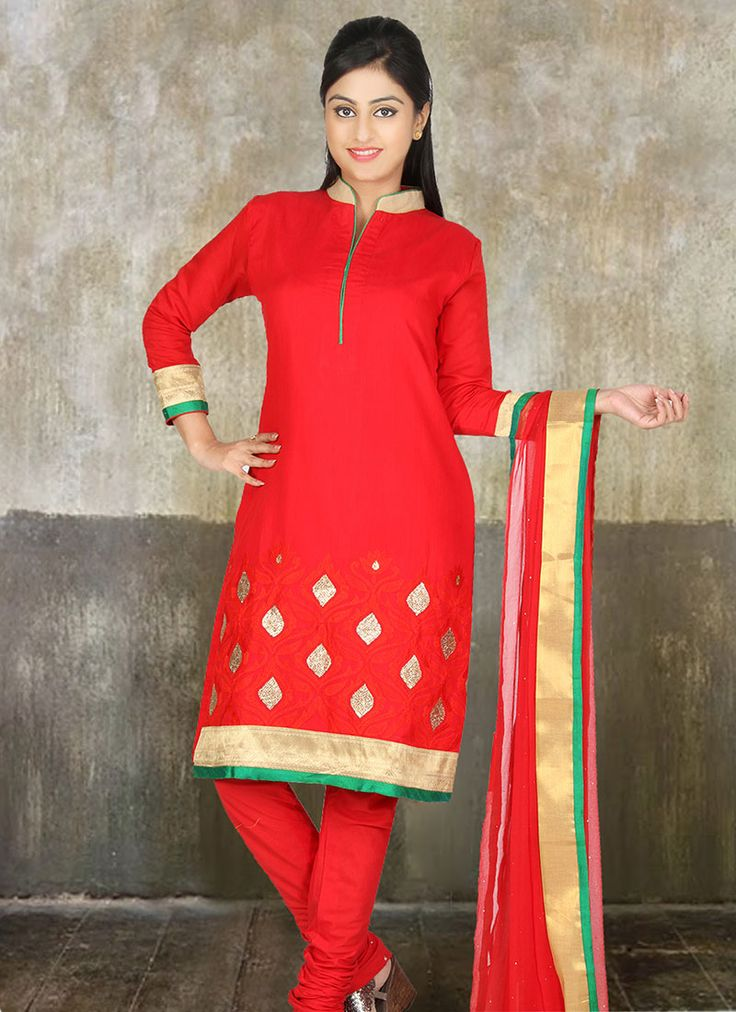 Red Chanderi #Cotton #Churidar Suit