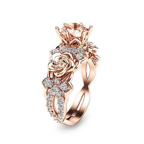 14K Rose Gold Morganite Engagement Ring Unique Morganite Engagement Ring Rose Gold Floral Engagement Ring – Sandra Wilkosz