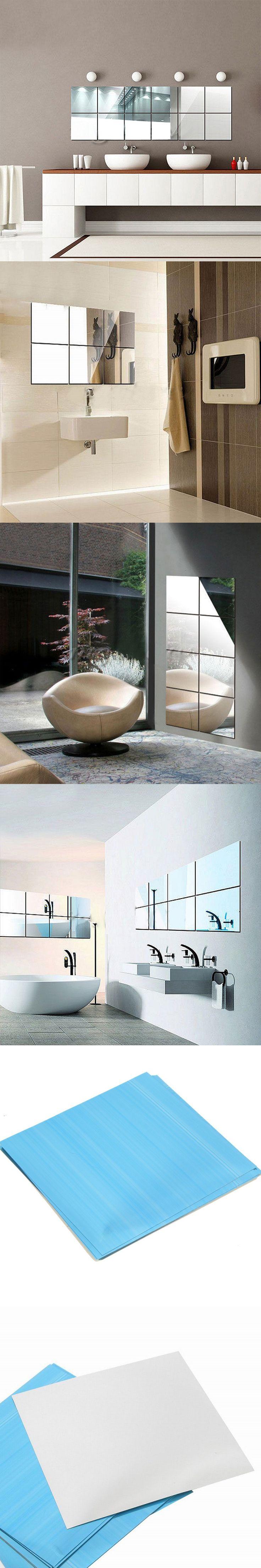 16pcs/set Self Adhesive 3D Mirrors Mosaic Tiles PVC Wall Stickers Square Shape Home Living Room Decor DIY Craft Supplies 15*15cm $6.12