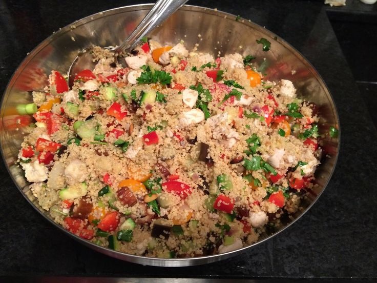 Couscous salad with dades, roasted nuts, feta cheese and a bunch of raw vegetables. Need to work on my food photography skills which is awfully difficult btw.