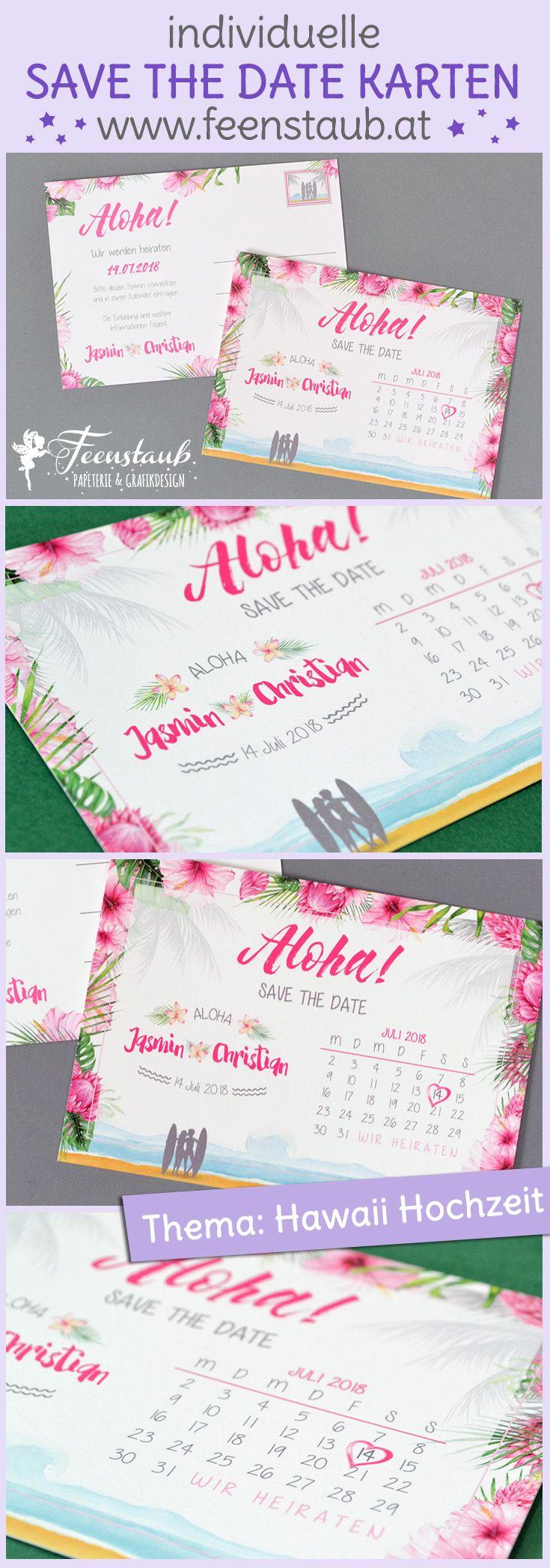 Save the Date Karte für eine Hawaii Hochzeit. Wenn der Antrag und auch das Lieblingsreiseziel auf Hawaii ist - dann ist klar, dass das eine Hawaiihochzeit wird - Aloha!