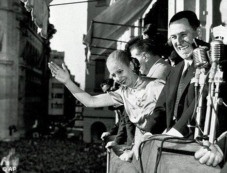 During the war, Argentinian President Juan Peron, pictured with his wife Eva in Buenos Aires in 1950, sold 10,000 blank Argentine passports to ODESSA - the organisation set up to protect former SS men in the event of defeat.  Over 5,000 war criminals fled to South America during the last days of the war.