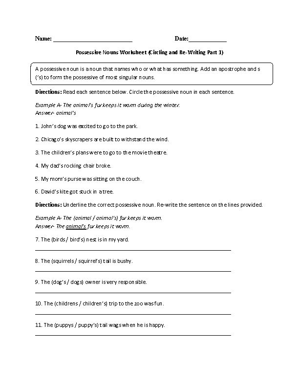 Circling and Re-Writing Possessive Nouns Worksheet Advanced
