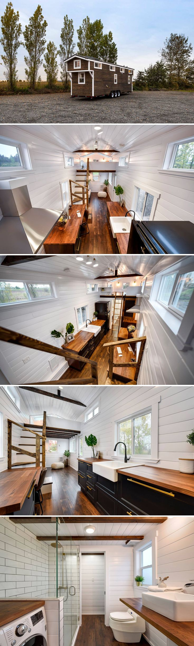 From Mint Tiny Homes is a custom 34' Loft Edition with dark cabinetry and gold hardware. Includes an office area for those looking to work from home.