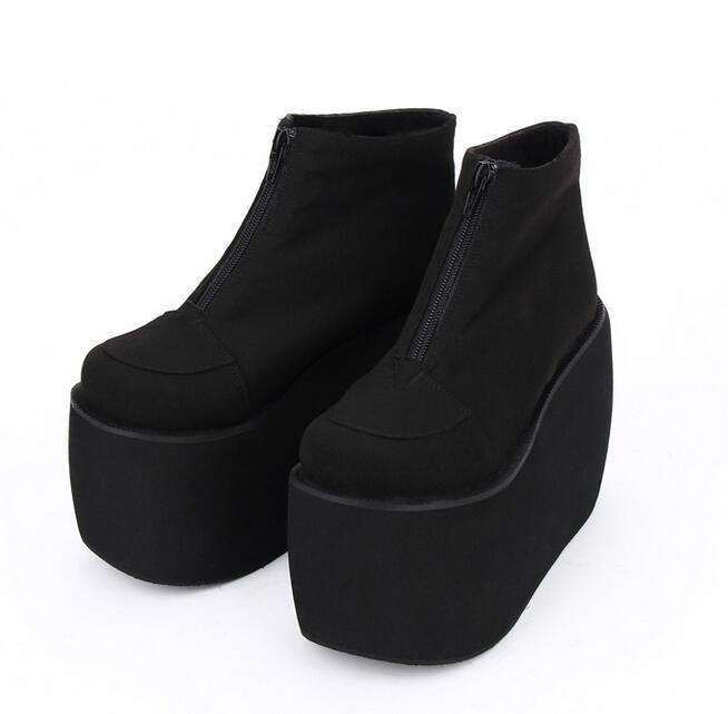 Женщины моды панк мотоцикла сапоги леди лолита ботильоны женщина мелочь пятки насосы платформы клинья обувь короткие сапоги 33-47 12 см