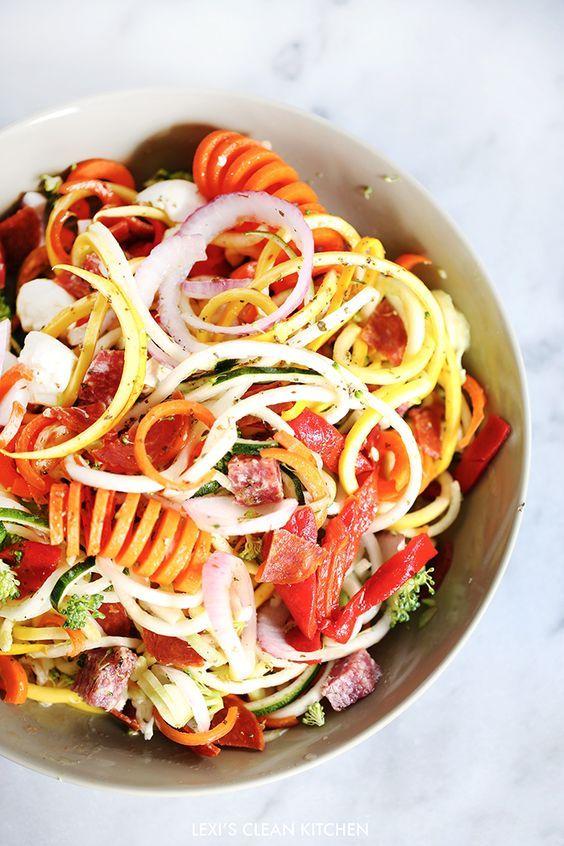 Antipasto 'PASTA' Salad – Lexi's Clean Kitchen made with the KitchenAid® Spiralizer Attachment